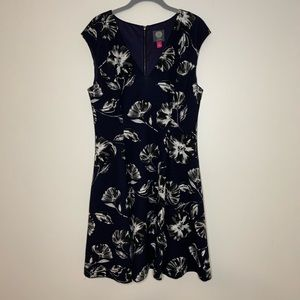 Vince Camuto Fit and Flare Navy Blue Floral Dress